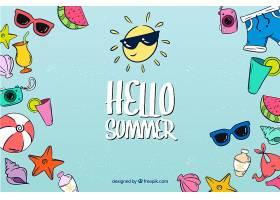 你好夏日背景有海滩元素_2141605