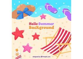 你好夏日背景有海滩元素_2141608