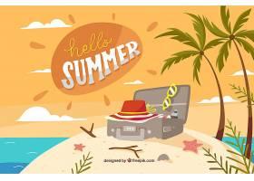 你好夏日背景有海滩元素_2141611