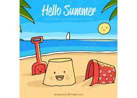 你好夏日背景有海滩元素_2141613