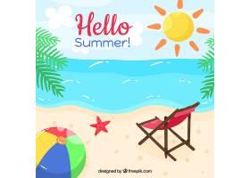 你好夏日背景有海滩元素_2145924