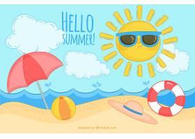 你好夏日背景有海滩元素_2145926