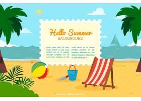 你好夏日背景有海滩元素_2145927