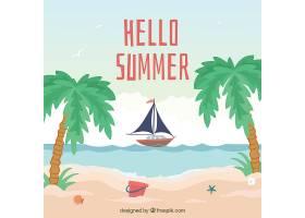 你好夏日背景有海滩元素_2145928