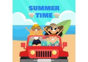 与朋友在车里的夏日背景_1134537