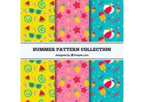 一套三种颜色的夏季图案_2159587