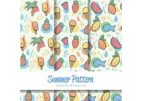 一套手绘风格的带有海滩元素的夏季图案_2181728