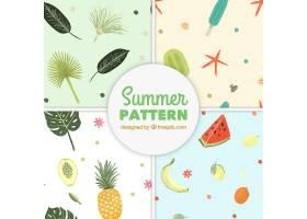 一套手绘风格的带有海滩元素的夏季图案_2181762