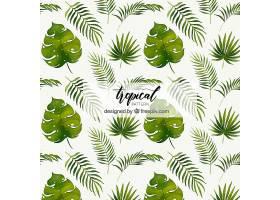 不同植物水彩画风格的热带图案_2242890