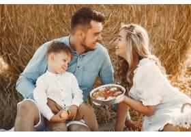 日落时分一家人在麦田里陪着小儿子玩耍_10885043