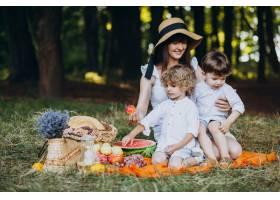 母亲和她的儿子们在森林里野餐_10298647