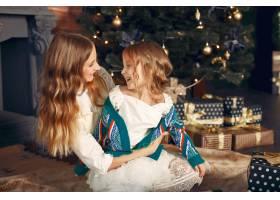 母亲带着可爱的女儿在家中靠近壁炉的地方_11243470