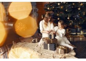 母亲带着可爱的女儿在家中靠近壁炉的地方_11243584