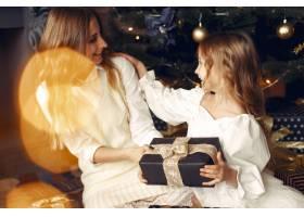 母亲带着可爱的女儿在家中靠近壁炉的地方_11243601