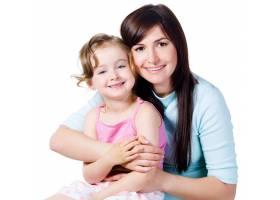 带着小女儿的年轻美女的团聚白色的隔绝_10880318