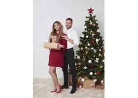 圣诞节期间喜气洋洋的夫妇的全身肖像_11724313