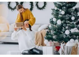 女儿在圣诞节给母亲做礼物惊喜_12177334