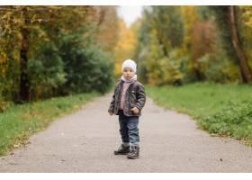 妈妈和儿子一起在秋天的公园散步和玩耍_11035217