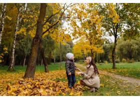 妈妈和儿子一起在秋天的公园散步和玩耍_11030013