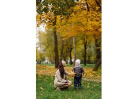 妈妈和儿子一起在秋天的公园散步和玩耍_11030039