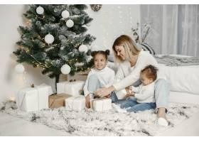 人们在为圣诞节做准备母亲和她的女儿们一_11743775