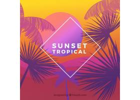 美丽日落的热带天堂海滩_2730524