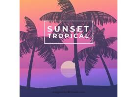 美丽日落的热带天堂海滩_2730525
