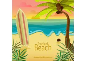 美丽日落的热带天堂海滩_2730527