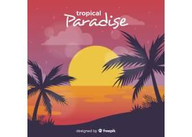 美丽日落的热带天堂海滩_2730531