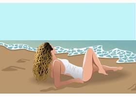 肮脏的金发女子穿着白色泳衣在海边晒日光浴_11689036