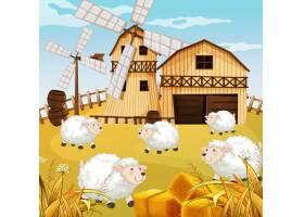 自然界中有谷仓风车和绵羊的农场场景_9306038