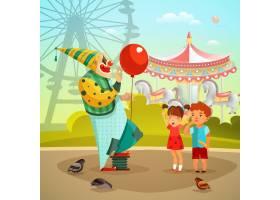游乐园马戏团小丑平面插图_4027715