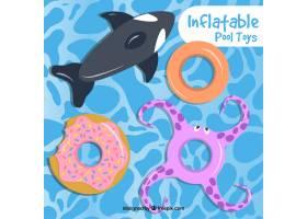 游泳池里有令人愉快的充气玩具_892869