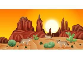 落日场景中有岩石山脉和郊狼景观的沙漠_11829976