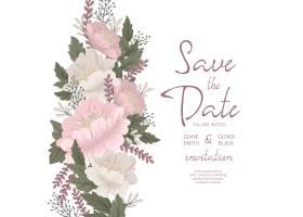 花卉婚礼请柬模板粉色花卡_6216052