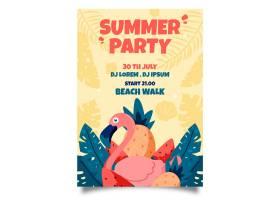火烈鸟手绘夏日派对海报_8304217
