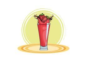草莓飞溅的点心饮料卡通_4713658