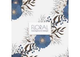 蓝色花朵的花卉无缝图案_6552043