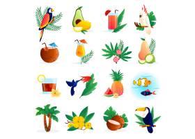 热带图标配以鸡尾酒鲜花水果和鸟类_3813262
