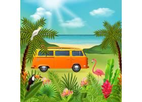热带天堂与海洋自然景观和五颜六色的植物与_6831405