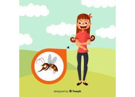 蚊子叮咬扁平设计的人_3076196
