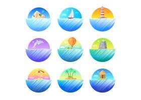 热带岛屿圆形五颜六色的图标集_4300480