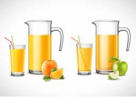 装有苹果和橙汁的罐子_4342074
