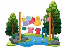 许多衣服挂在带有自然元素的绳子上_11693310
