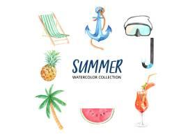 设计元素采用水彩画创意夏日主题矢量插画_5589371