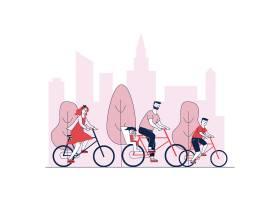 父母和孩子在公园里骑自行车_7416566