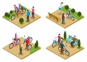 暑假2x2设计概念集等距构图与人们在城市公_7201674