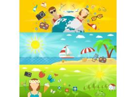 暑假和旅行海边森林和田野设置水平横幅_3817321