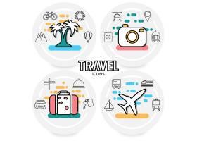 暑假概念带棕榈树交通工具太阳山护照行李招_11053564