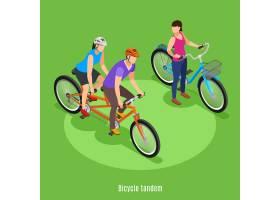 暑期家庭假期等距父女骑双人自行车矢量插图_7201678